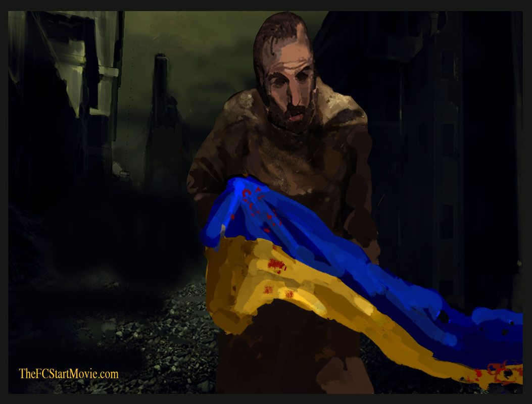 Holding the Ukraine Flag